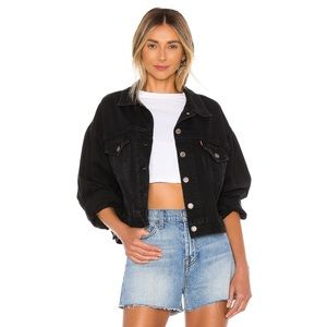NEW Levi's Cropped Trucker Jacket Pleated Sleeve